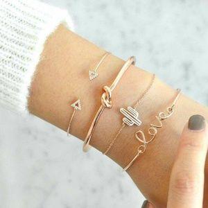 4 Piece Gypsy Bracelet Anklet Set Bangle
